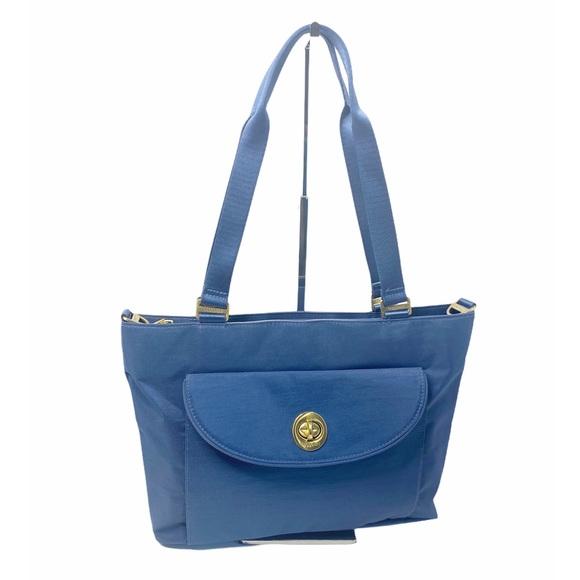 Bagallini Blue Long Strap Zipper Top Tote Bag